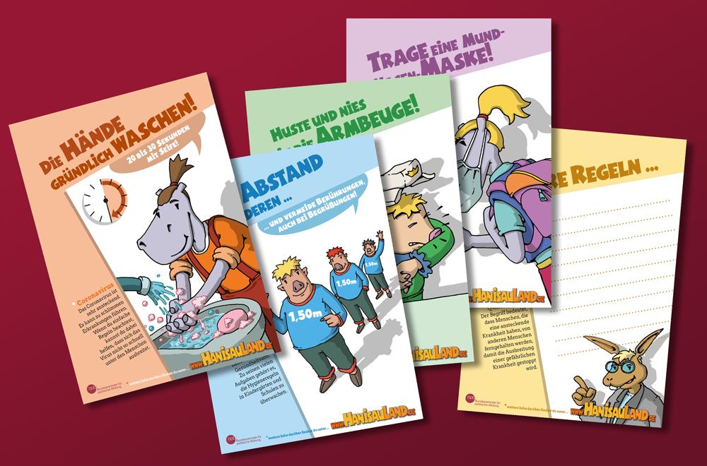 HanisauLand-Plakate mit Abstands- und Hygieneregeln