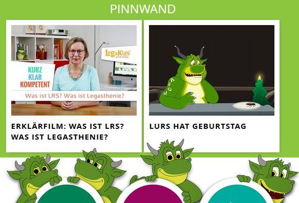 Pinnwand auf www.legakids.net/kids