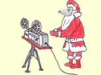 Weihnachtswolf mit Beamer