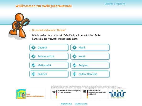 Screenshot ZUM-Grundschulwebquest