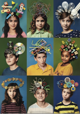 Kinderköpfe mit Glühbirnen, Kabeln, Zahlen oder Schlüsseln auf dem Kopf